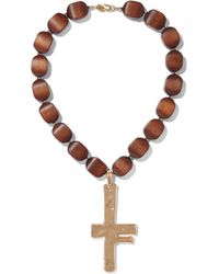 Kenneth Jay Lane - Hammered Gold-tone Wood Necklace - Lyst