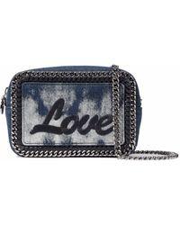 Stella McCartney - Falabella Embroidered Bleached Denim Shoulder Bag - Lyst