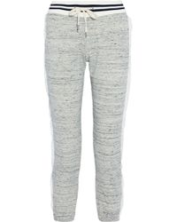 Splendid - Mélange Cotton-blend Terry Gauze-trimmed Track Pants - Lyst
