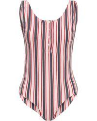 Anine Bing - Woman Striped Cotton-blend Jersey Bodysuit White - Lyst