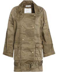 Current/Elliott - Printed Cotton-gabardine Jacket Army Green - Lyst