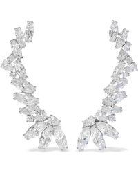 CZ by Kenneth Jay Lane - Woman Silver-tone Crystal Ear Cuffs Silver - Lyst