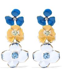 Kenneth Jay Lane - Crystal, Enamel And Gold-tone Earrings - Lyst