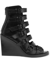 Ann Demeulemeester - Woman Buckled Leather Wedge Sandals Black Size 37 - Lyst