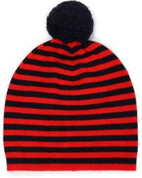Chinti & Parker - Woman Pompom-embellished Striped Wool And Cashmere-blend Beanie Red - Lyst