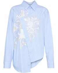 Cedric Charlier - Asymmetric Embroidered Striped Cotton Oxford Shirt - Lyst