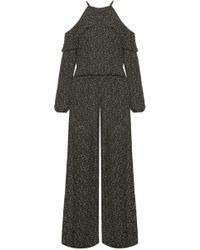 MICHAEL Michael Kors - Cold-shoulder Floral-print Georgette Jumpsuit - Lyst