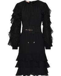Michael Kors - Tiered Ruffle-trimmed Silk-georgette Dress - Lyst