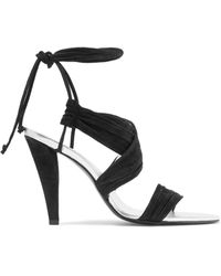 Roger Vivier - Lace-up Ruched Suede Sandals - Lyst