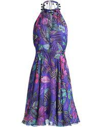 Matthew Williamson - Cutout Printed Silk Halterneck Dress - Lyst