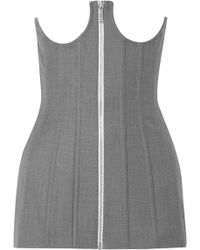 Thom Browne - Woman Lace-up Cotton-twill Bustier Top Grey - Lyst