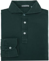 Naked Clothing - Green Pique Long Sleeve Stretch Cotton Polo Shirt - Lyst
