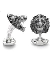 Deakin & Francis - Sterling Silver Oxidised Lion Head Cufflinks - Lyst