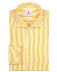 Cordone 1956 - Yellow And White Dandy Stripe Handmade Cotton Shirt - Lyst
