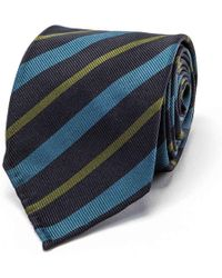 Drake's - Navy, Teal And Olive Repp Stripe Tie - Lyst