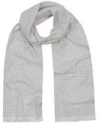 Anderson & Sheppard - White And Navy Tubular Cotton Spotted Scarf - Lyst