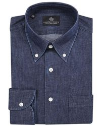 Chester Barrie - Navy Button Down Collar Denim Cotton Shirt - Lyst