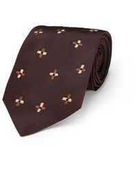 Jupe by Jackie - Brown And Cream Silk Embroidered Tie - Lyst