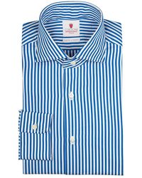 Cordone 1956 - Blue And White Dandy Stripe Handmade Cotton Shirt - Lyst