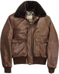 Chapal - Brown Leather Usaaf Aviator Jacket - Lyst