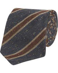 Fumagalli 1891 - Blue And Brown Stripe Malibu Wool And Silk 5-fold Tie - Lyst