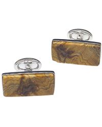 Jan Leslie - Sterling Silver And Fossil Wood Cufflinks - Lyst