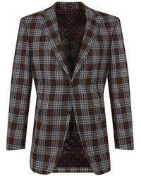 New & Lingwood - Burgundy Check Single Breasted 'appleton' Jacket - Lyst