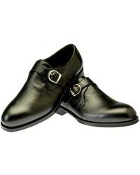 Belsire - Black Rodolfo Leather Single Buckle Monk Strap Shoes - Lyst