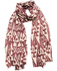 Anderson & Sheppard - Plum And Cream Ikat Silk And Cashmere Scarf - Lyst