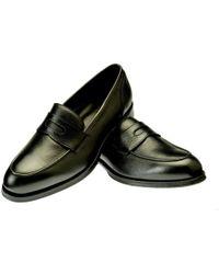 Belsire - Black Edoardo Grained Leather Penny Loafers - Lyst