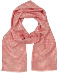 Anderson & Sheppard - Coral Spotted Print Silk Scarf - Lyst