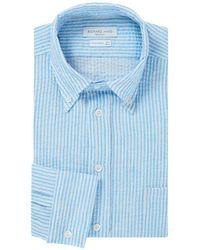Richard James - Blue And White Stripe Seersucker Cotton Shirt - Lyst