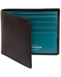 Ettinger - Black And Turquoise Billfold Wallet With 6 C/c, Sterling Collection - Lyst
