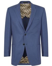 New & Lingwood - Blue Linen Single Breasted 'cowdray' Jacket - Lyst