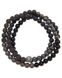 Nialaya - Wrap-around Bracelet With Lava Stone, Hematite And Agate - Lyst