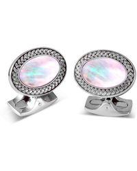 Deakin & Francis - Silver Mother Of Pearl Oval Cufflinks - Lyst