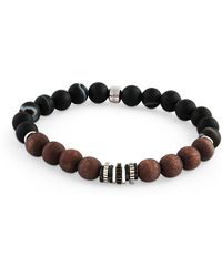Tateossian - Frosted Striped Agate, Black And Sterling Silver Bracelet - Lyst