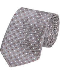 Fumagalli 1891 - Grey And White Foulard Pattern Malibu Silk 5-fold Tie - Lyst