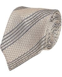 Fumagalli 1891 - Beige And Light Blue Woven Stripe Florida Silk 5-fold Tie - Lyst