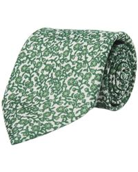 Calabrese 1924 - White And Green Floral Silk Tie - Lyst