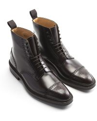 George Cleverley - Burgundy Toby Brogue Derby Leather Boots - Lyst