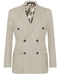 Daks Cream Linen And Cotton Jeremy Travis Double-breasted Suit