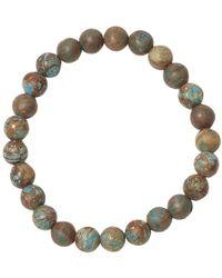 Jan Leslie - Green Matte Chrysocolla Agate Bead Elasticated Bracelet - Lyst