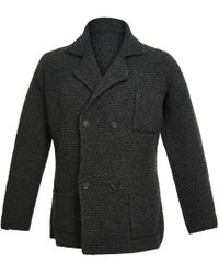 Anderson & Sheppard - Charcoal Double Breasted Merino And Cashmere Jacket - Lyst