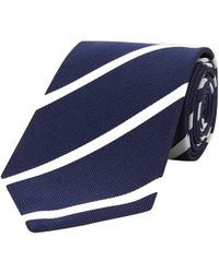 Turnbull & Asser - Navy And White Stripe Repp Silk Tie - Lyst