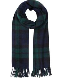 Begg & Co - Black, Green And Navy Lambswool And Angora Jura Tartan Scarf - Lyst
