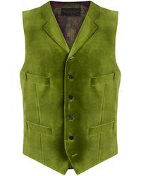 New & Lingwood - Green Cotton Edworth Single-breasted Waistcoat - Lyst