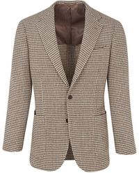 Ring Jacket Brown And Cream Balloon Wool Houndstooth Jacket