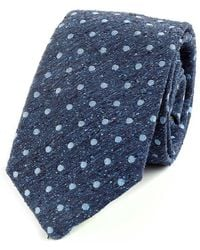 Augustus Hare - Navy And Sky Spot Noile Silk Tie - Lyst