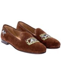 Stubbs & Wootton - Brown Suede Pointer Dog Embroidered Slippers - Lyst